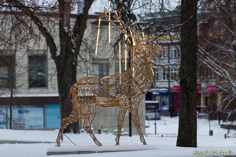 En gyllene hjort mitt i stan