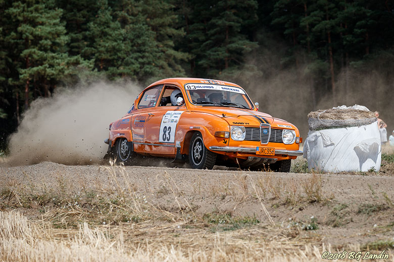 En orange Saab V4 i Kullingstrofén 2018