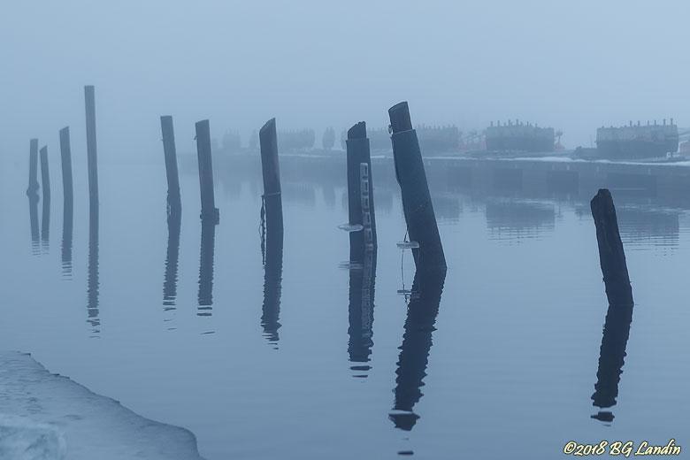 Småbåtshamn i dimma