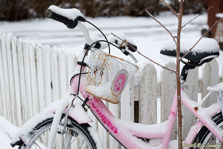 Snöig cykel