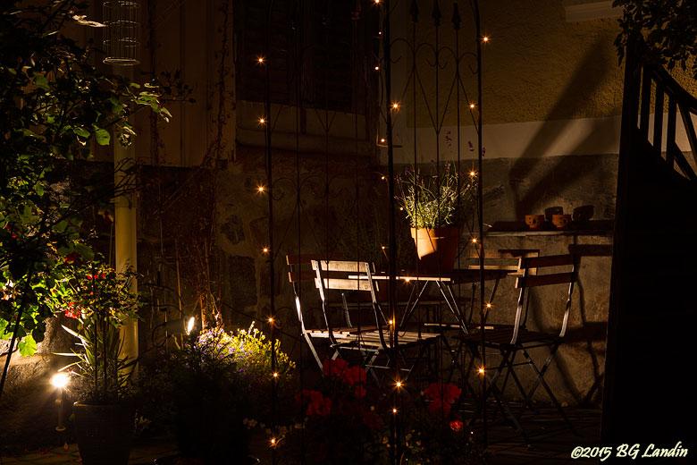 Upplyst veranda