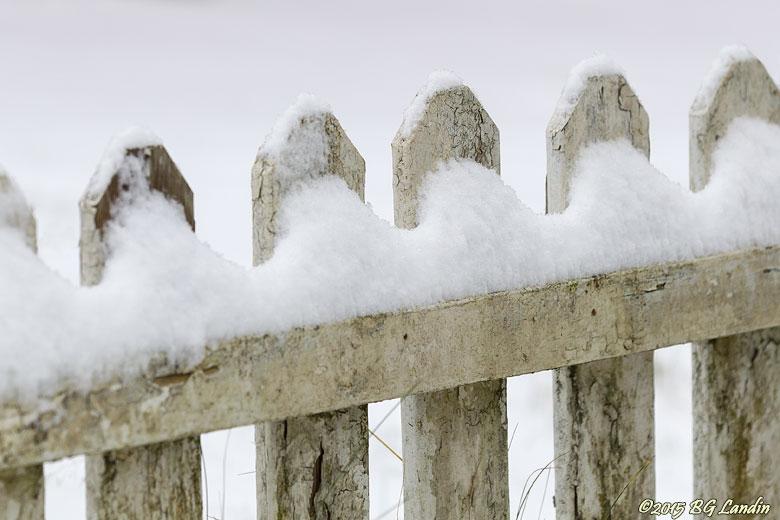 Vitt staket med snö