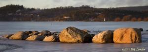 Stenar vid Playa Mjörn i kvällsljus