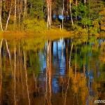 Vattenspegel av höstfärger